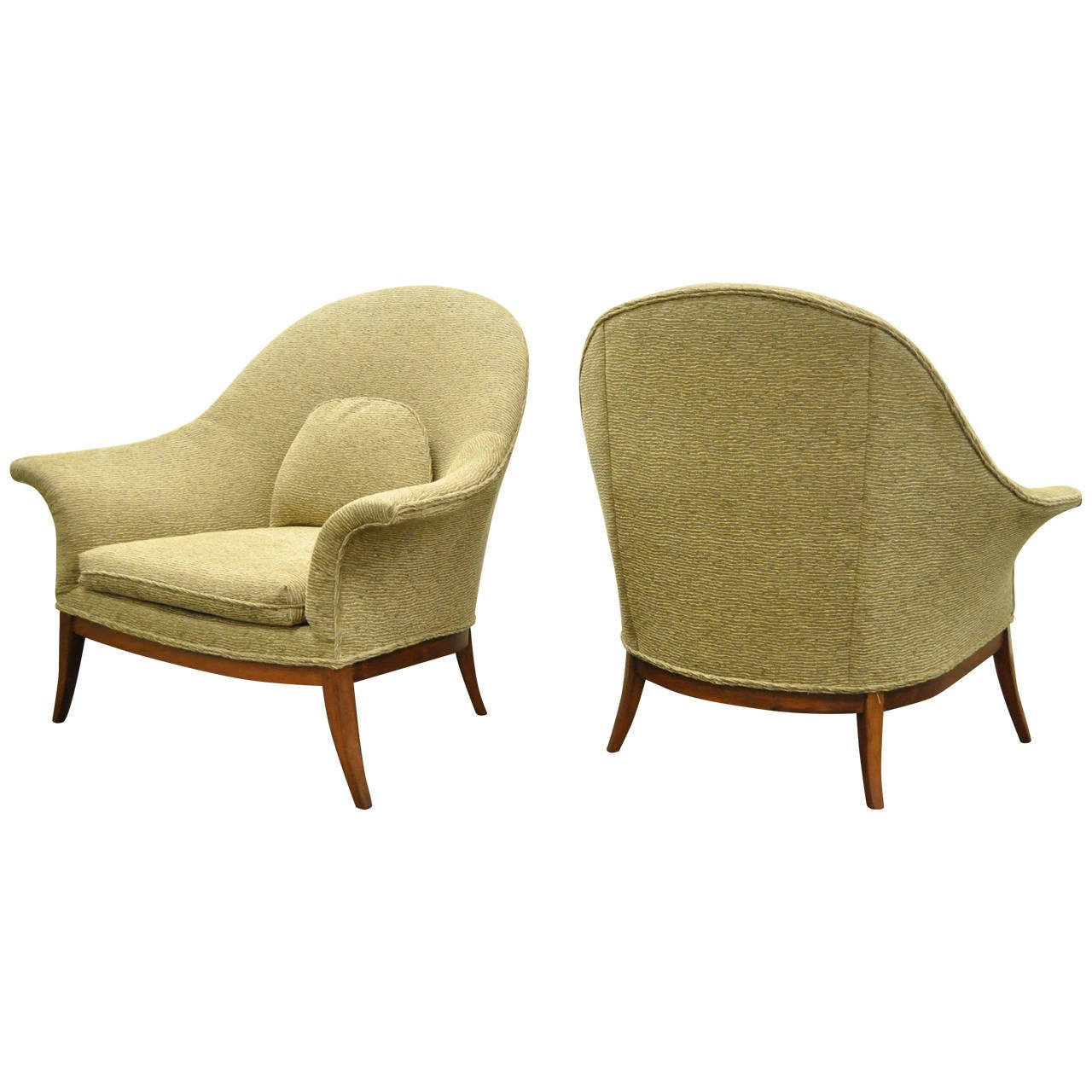 Remarkable Pair of Sculpted Frame Club or Lounge Chairs after Edward Wormley