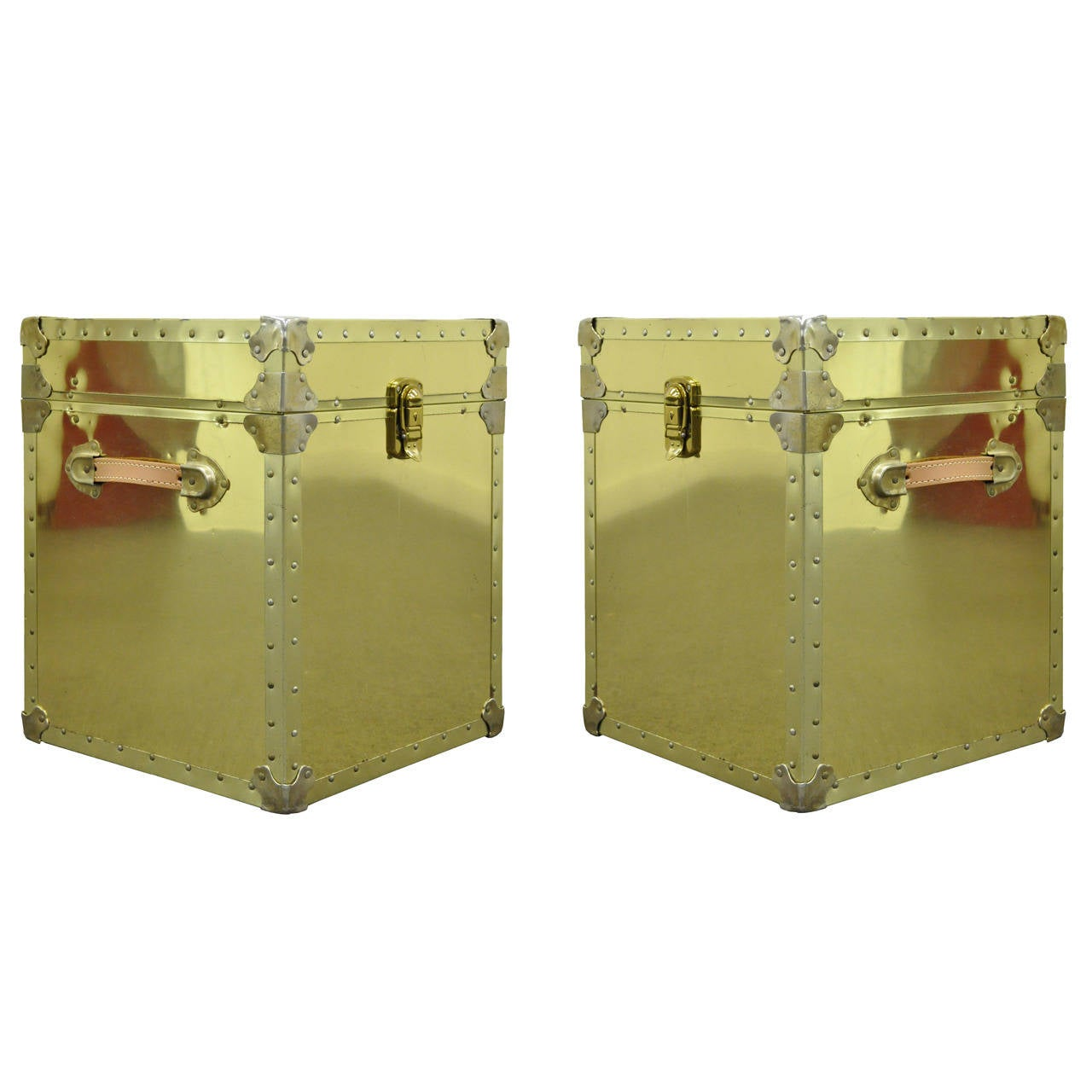 Pair of Hollywood Regency Brass Clad Trunks or Side Tables, USA, 1970s
