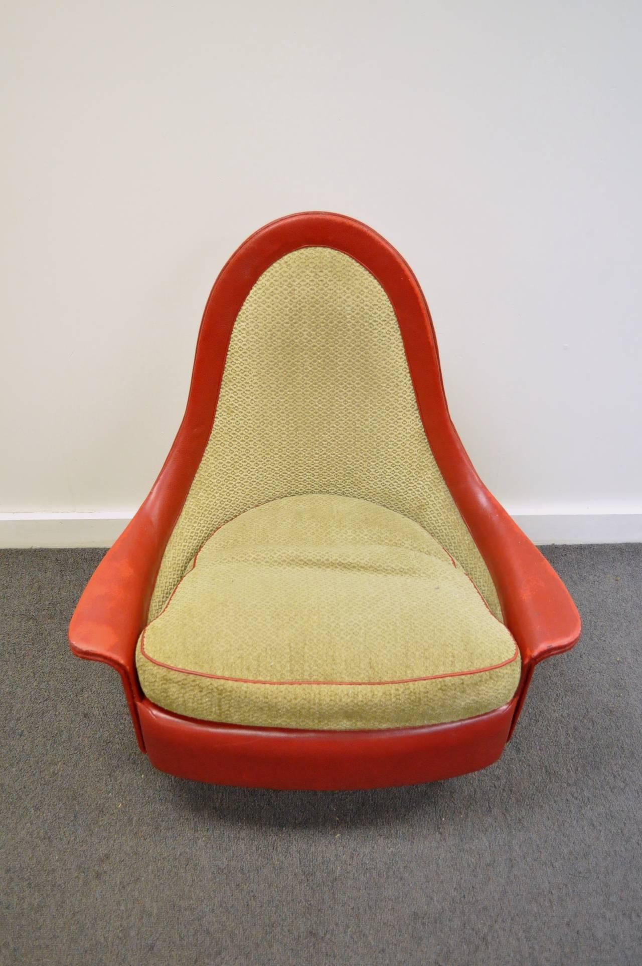 Upholstery Petite Sculptural Milo Baughman Tear Drop Swivel and Tilt Slipper or Club Chair For Sale
