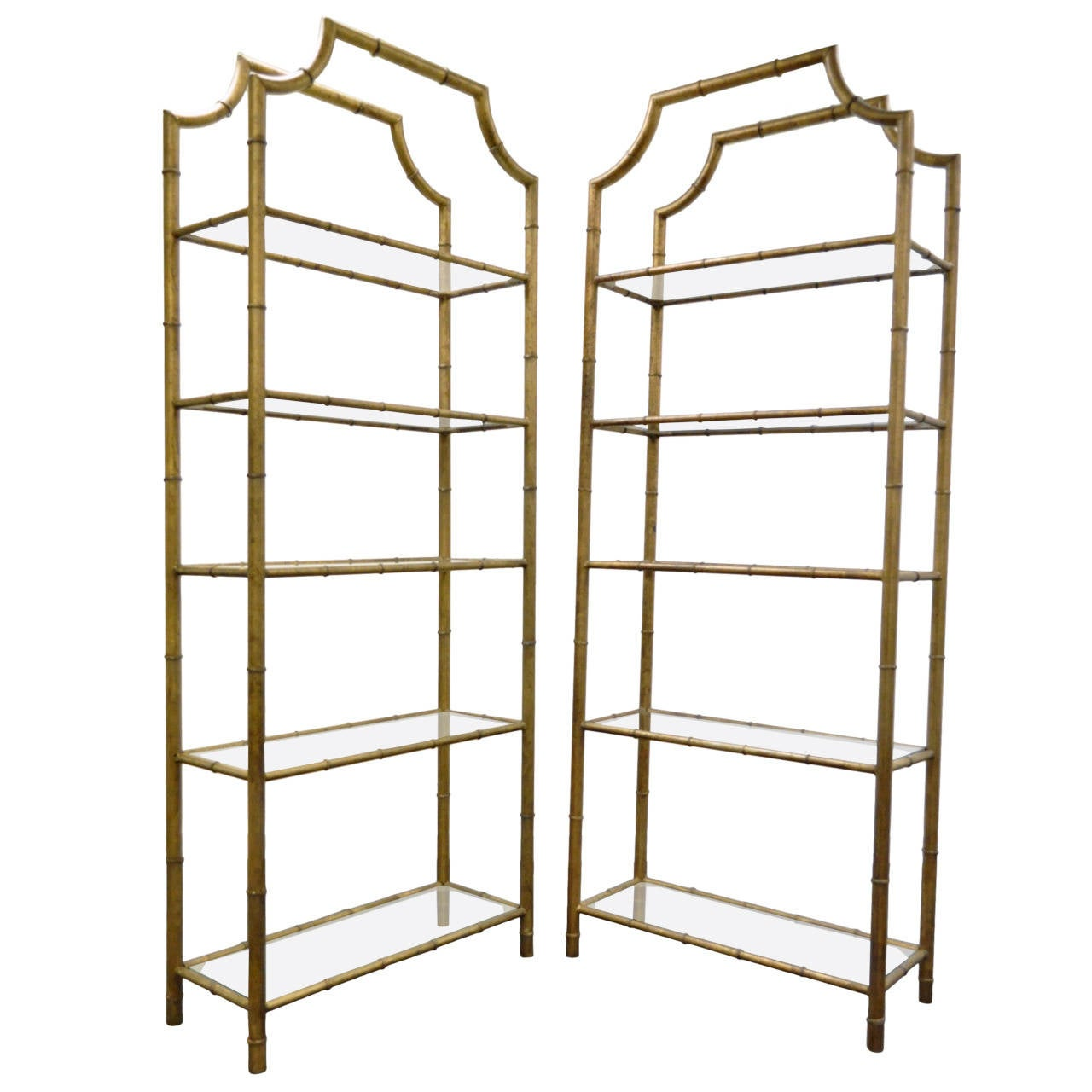 Pair Of Hollywood Regency Faux Bamboo Gilt Metal Tole Pagoda  # Etagere Vintage Plexiglas