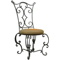 Antique French Art Nouveau Style Hand Forged Scrolling Wrought Iron Side Chair