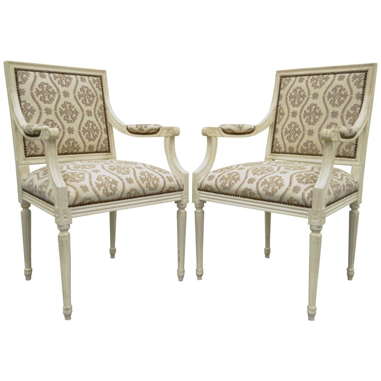 pair of french louis xvi style distress painted fauteuils or armchairs at 1stdibs. Black Bedroom Furniture Sets. Home Design Ideas