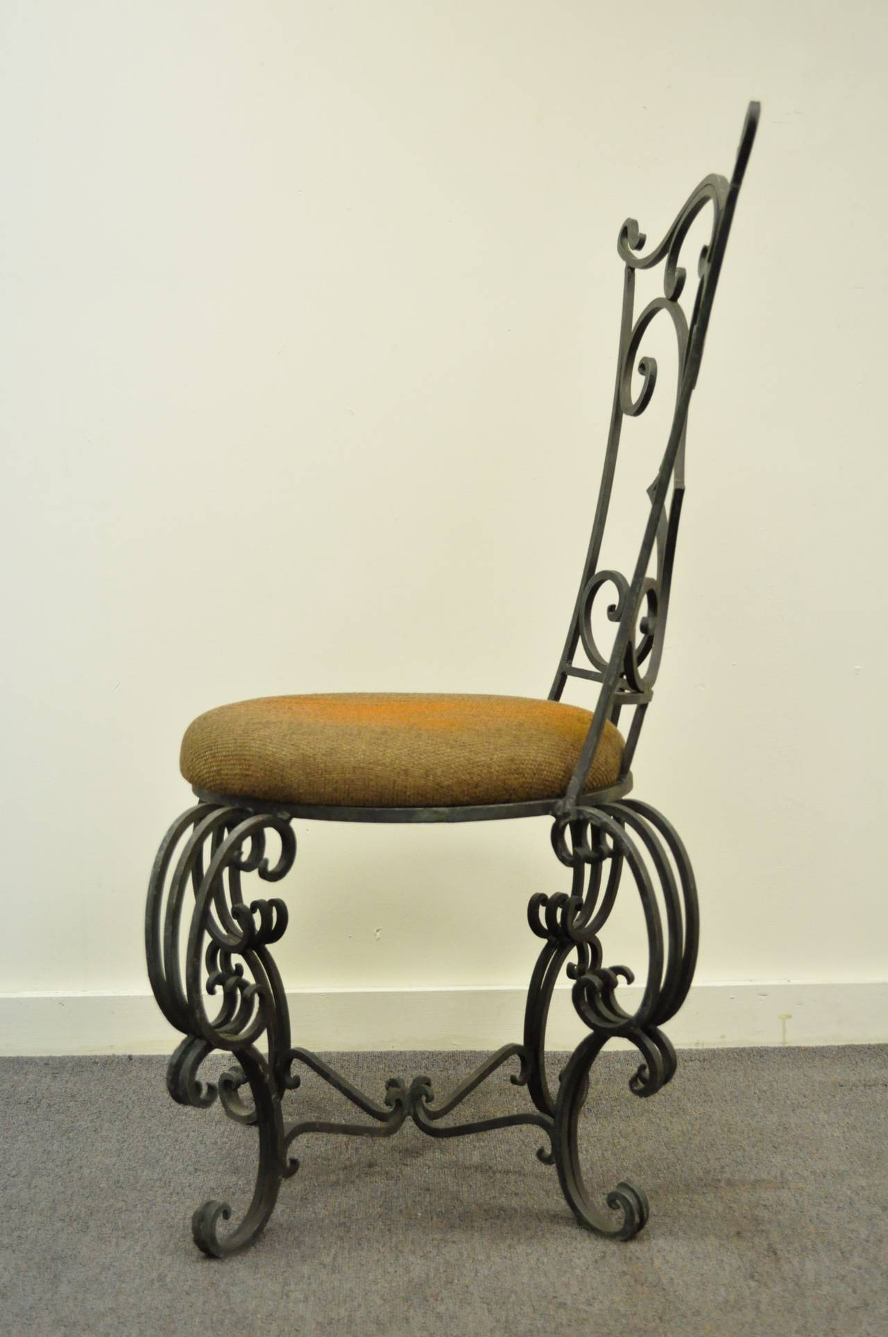 Whimsical French Art Nouveau Hand Forged Scrolling Iron Side Chair