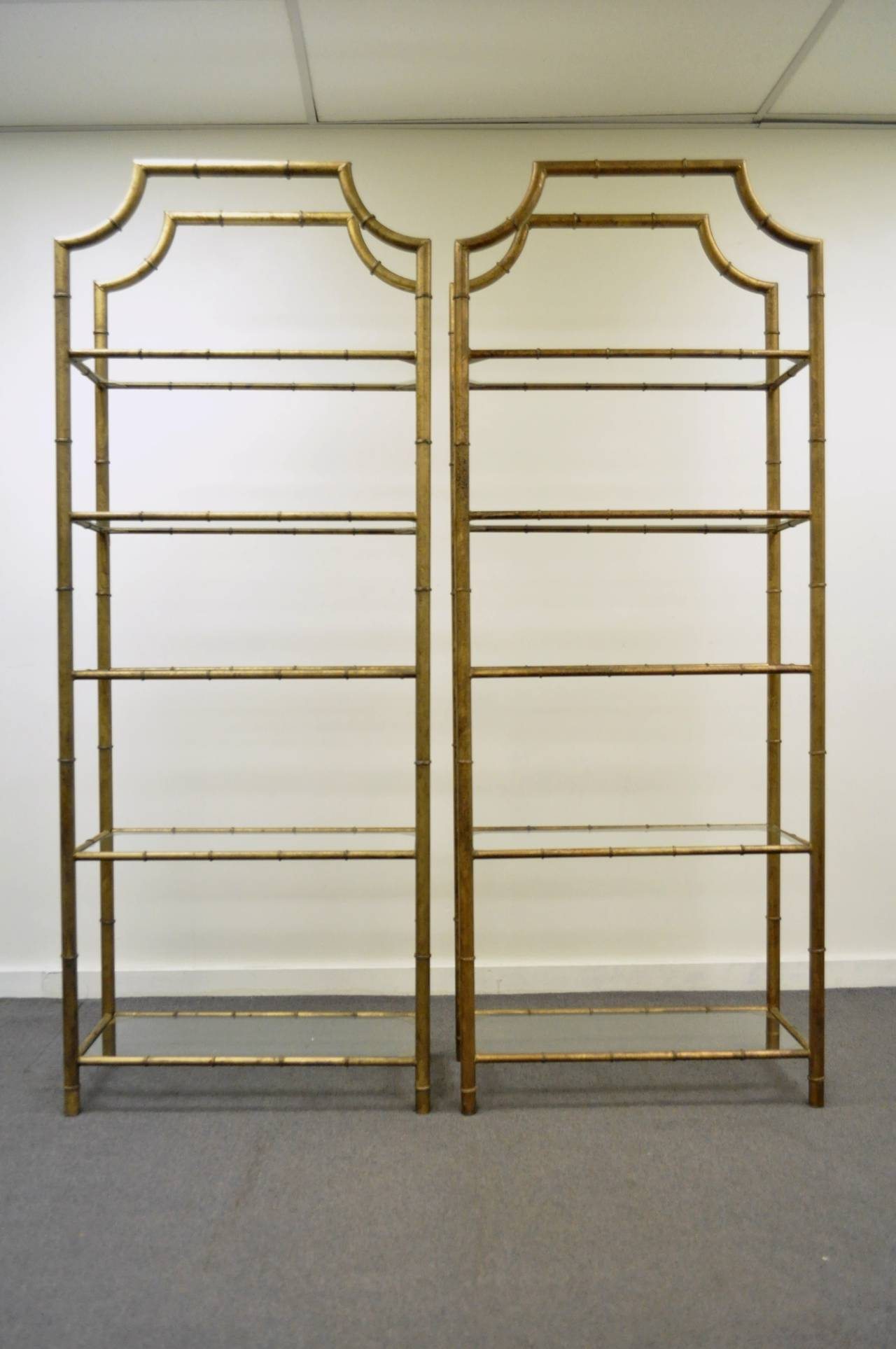 pair of hollywood regency faux bamboo gilt metal tole pagoda etageres at 1stdibs. Black Bedroom Furniture Sets. Home Design Ideas