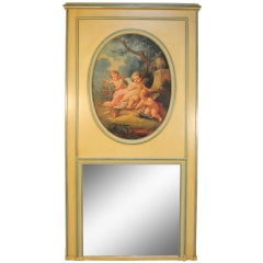 19th C. Painted French Louis XVI Style Trumeau Mirror Depicting Cherubs
