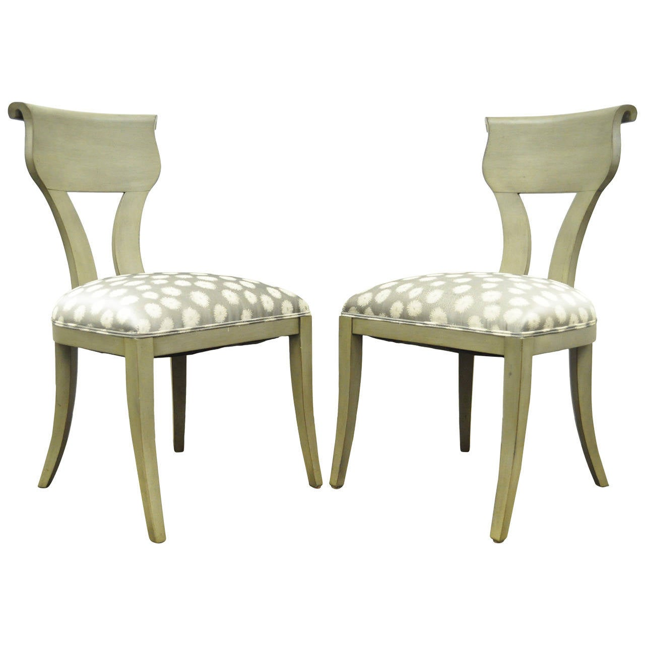 Pair of Scroll-Back Hollywood Regency Neoclassical Style Klismos Side Chairs