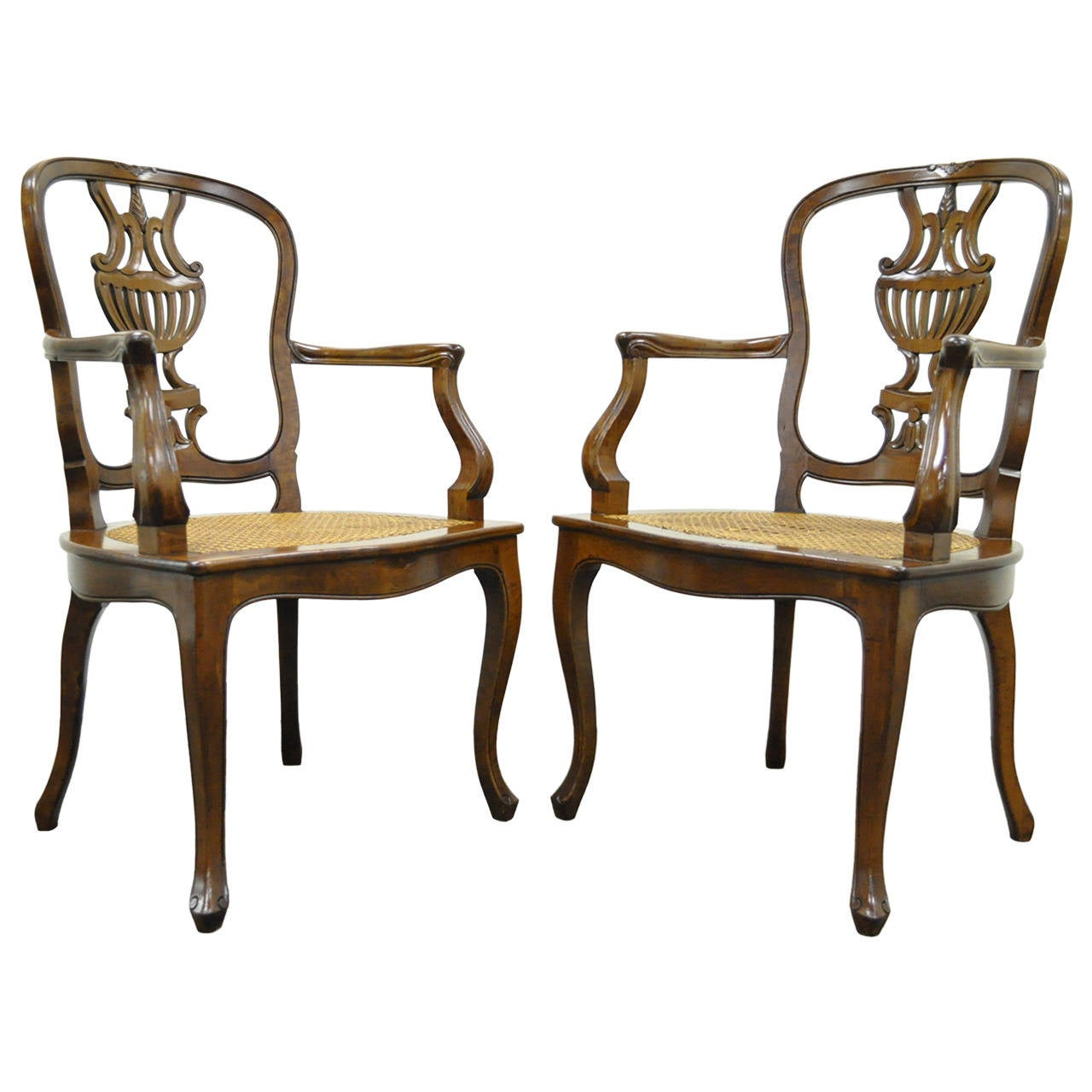 Hand-carved Venetian armchairs, late 20th century, offered by Refined Furnishings