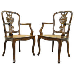 Pair of Hand-Carved Italian Venetian Cane Seat Arm Chairs in the French Taste