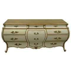 Custom Italian Hollywood Regency Gold Leaf Bombe Dresser or Commode