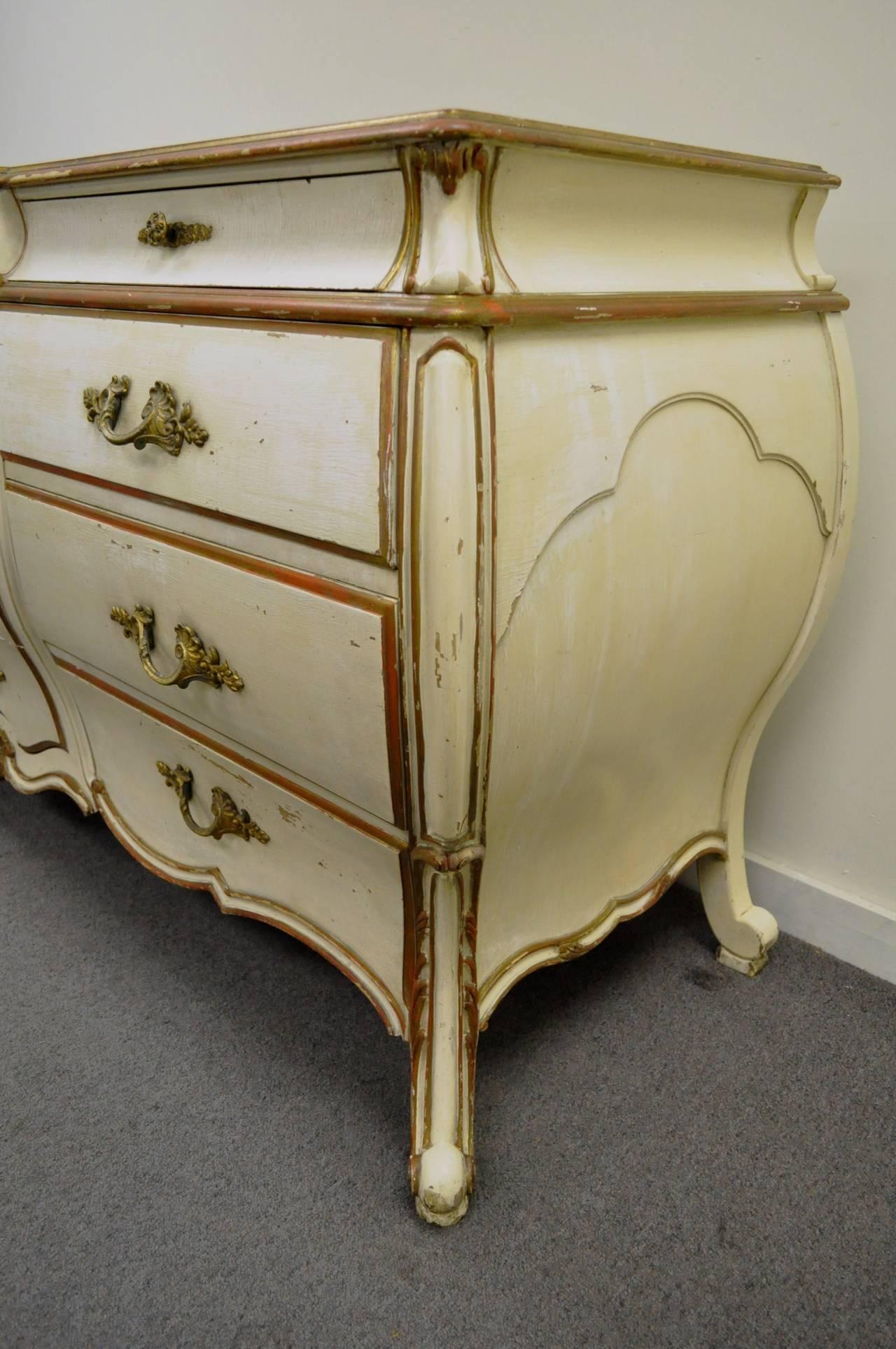 20th Century Custom Italian Hollywood Regency Gold Leaf Bombe Dresser or Commode For Sale