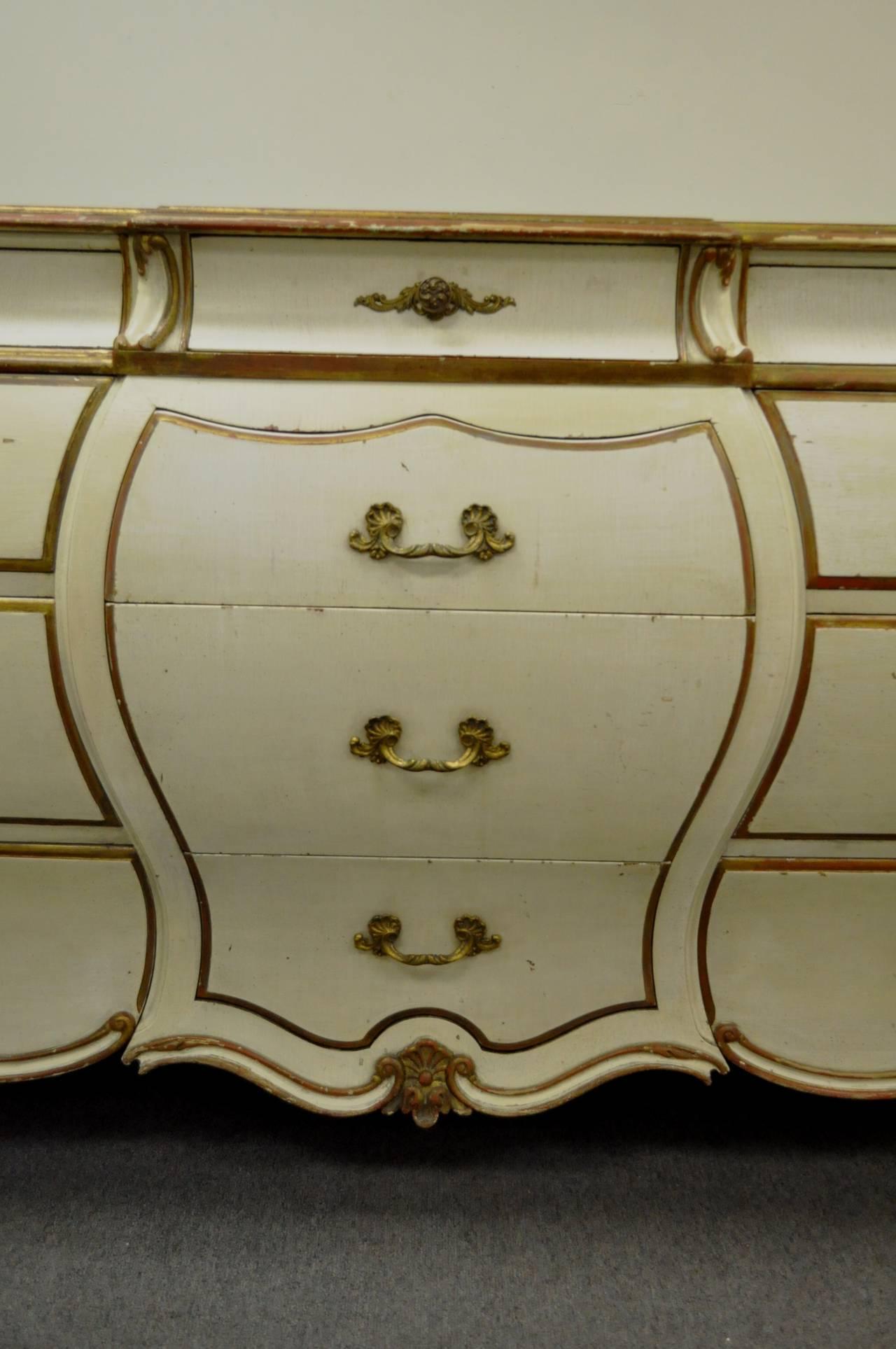 Custom Italian Hollywood Regency Gold Leaf Bombe Dresser or Commode For Sale 3