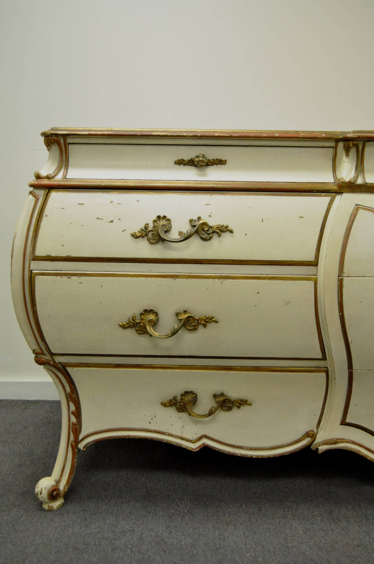 Custom Italian Hollywood Regency Gold Leaf Bombe Dresser or Commode For Sale 2