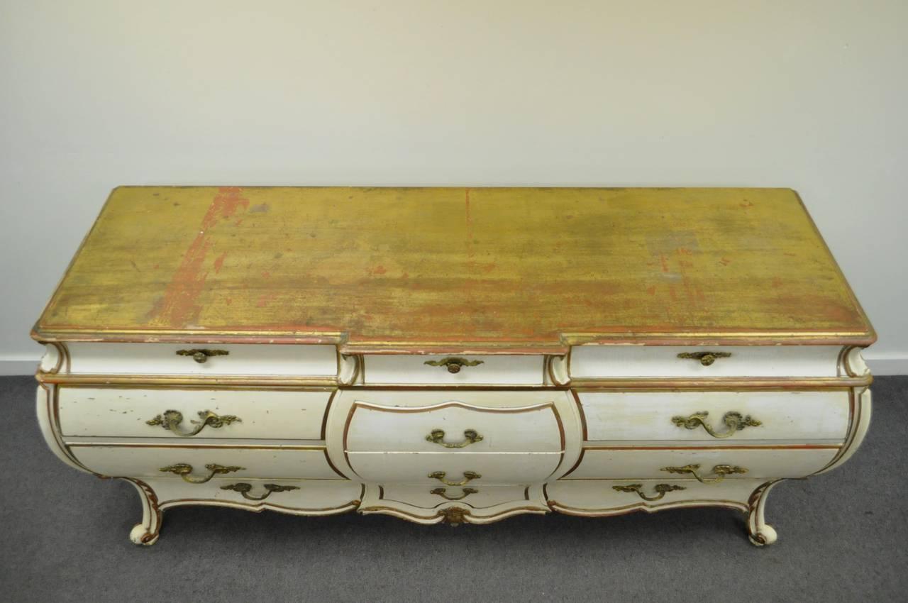 Custom Italian Hollywood Regency Gold Leaf Bombe Dresser or Commode For Sale 4