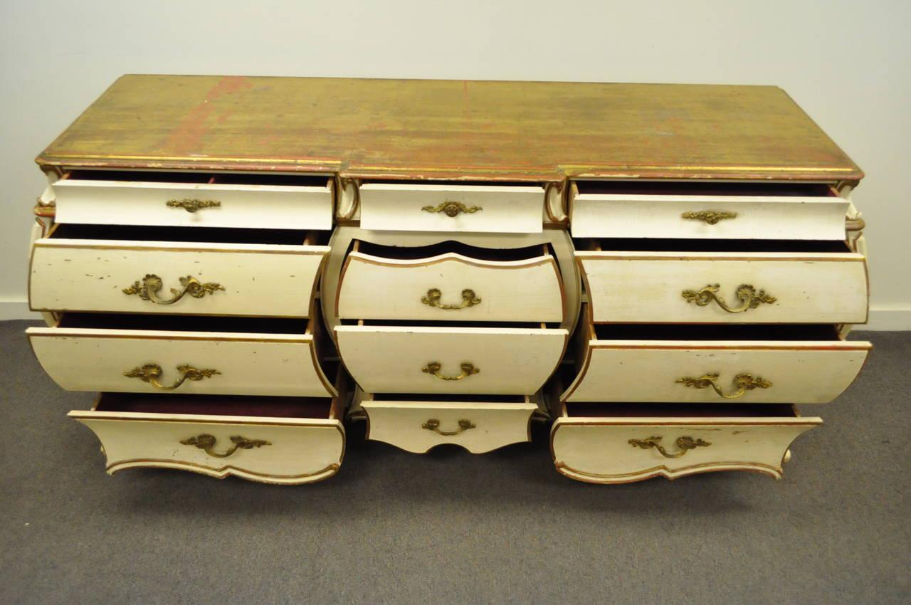 Custom Italian Hollywood Regency Gold Leaf Bombe Dresser or Commode For Sale 6