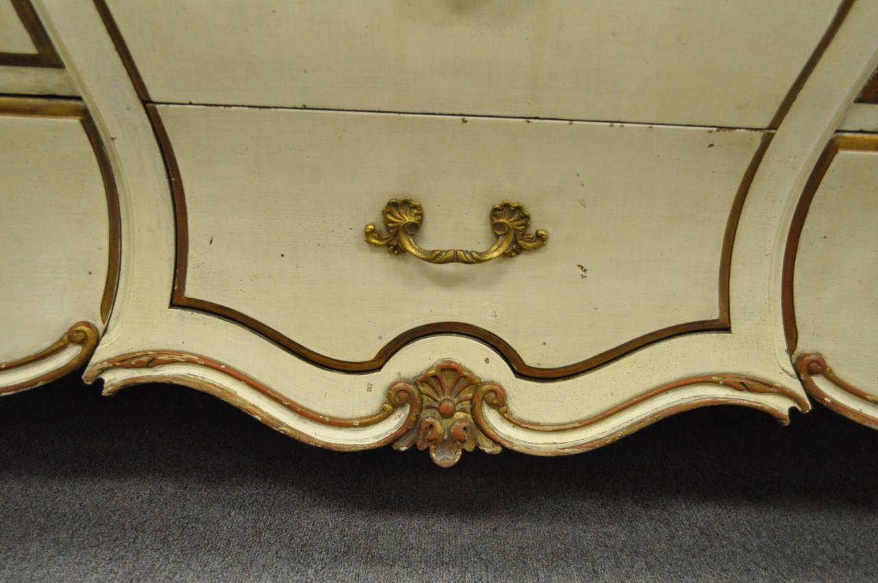 Custom Italian Hollywood Regency Gold Leaf Bombe Dresser or Commode For Sale 1