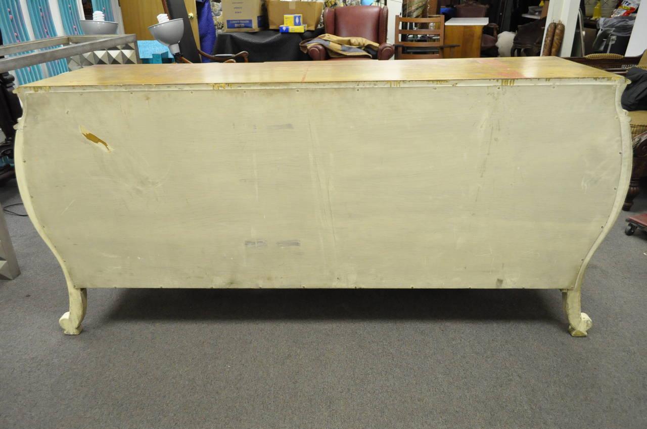 Custom Italian Hollywood Regency Gold Leaf Bombe Dresser or Commode For Sale 5