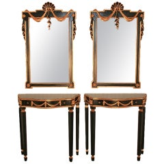 Pair of Neoclassical Style Consoles with Drape Shell-Carved Mirrors