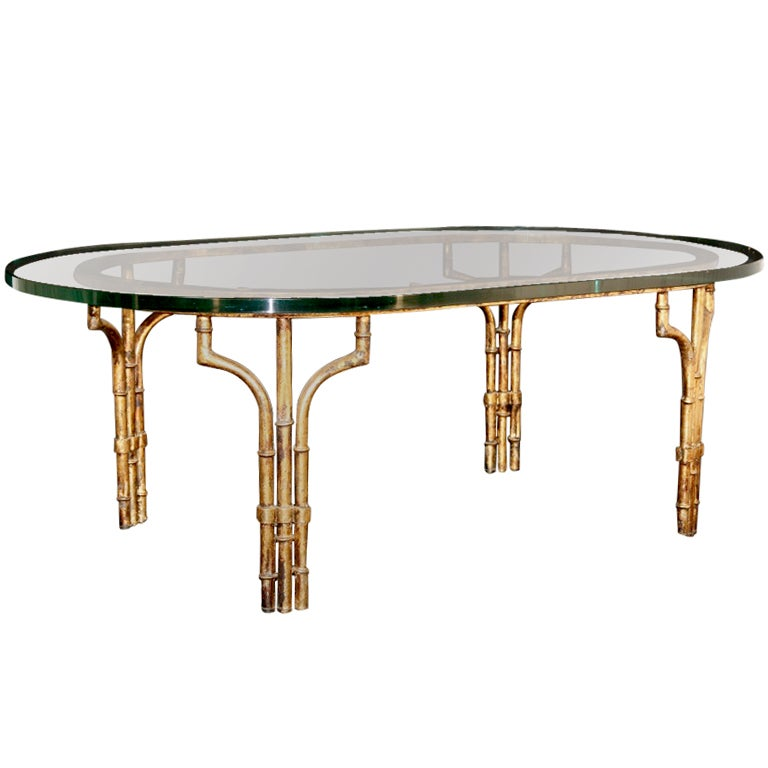 Italian Gilt Metal Faux Bamboo Oval Cocktail Table W 1 Glass At 1stdibs