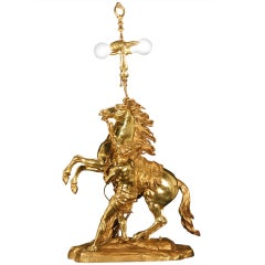 Large French Gilt Bronze Marly Horse Figural Table Lamp Statue Signed Coustou