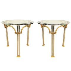 Pair Neoclassical Style Brass & Chromed Steel End Tables - Maison Jansen Style