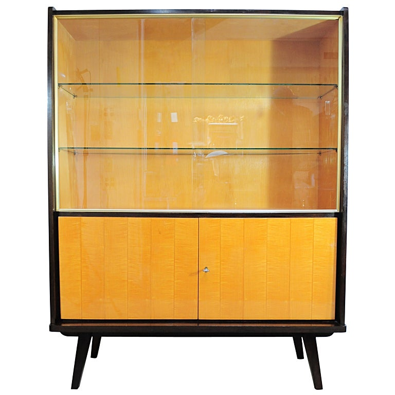 Vintage German Art Deco Burl Wood and Brass China Cabinet at 1stdibs