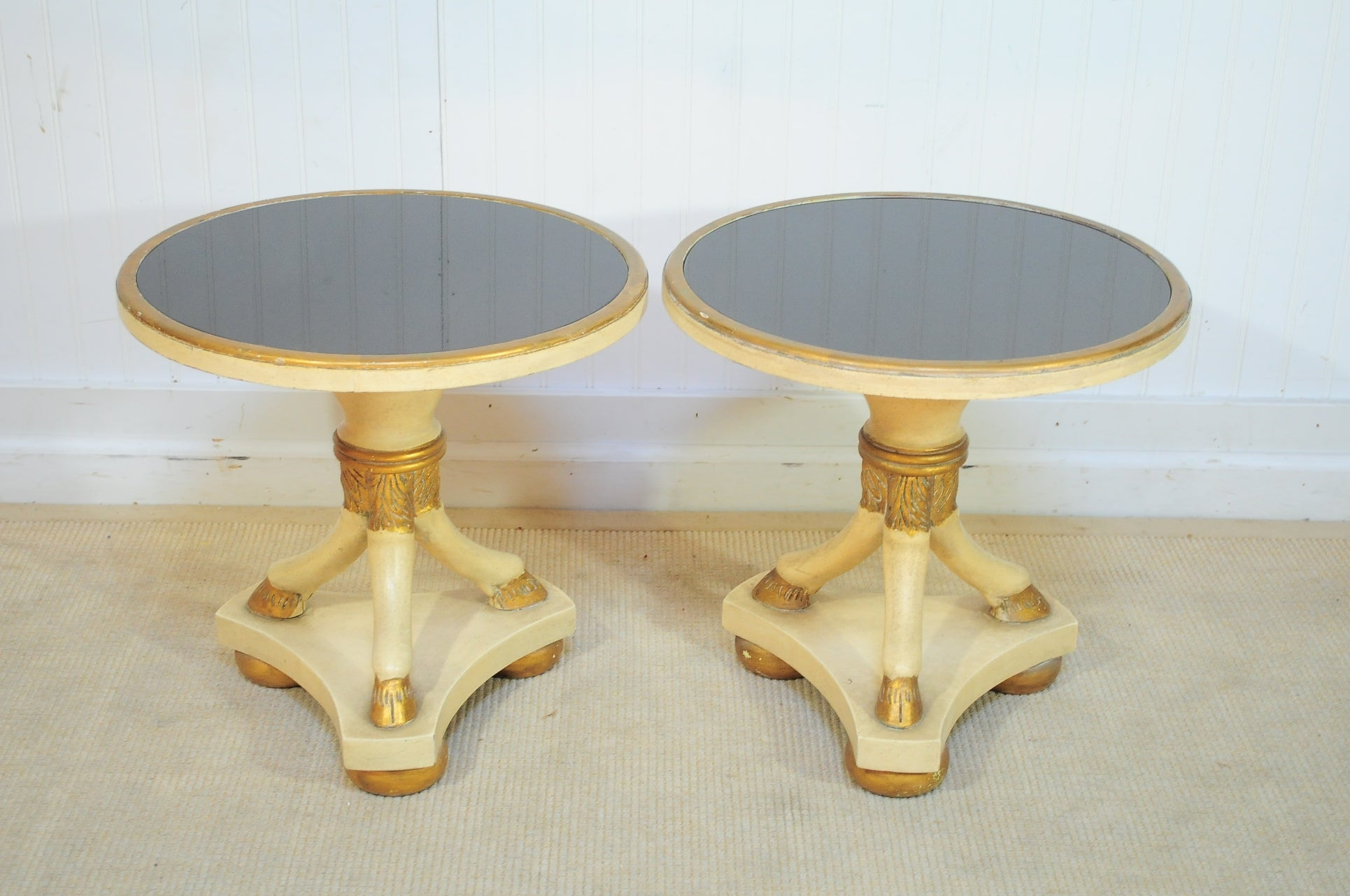 Pair French Regency Style Black Glass End Tables w Hoof Feet After Maison Jansen