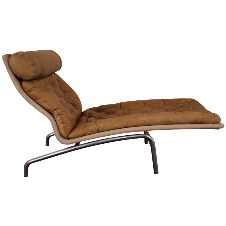Arne vodder for erik jorgensen mobilfabrik tufted leather for Chaise longue lounge