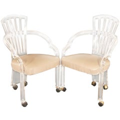 Pair of Sculptural Lucite Dining Chairs Armchairs by Hill Mfg. on Casters