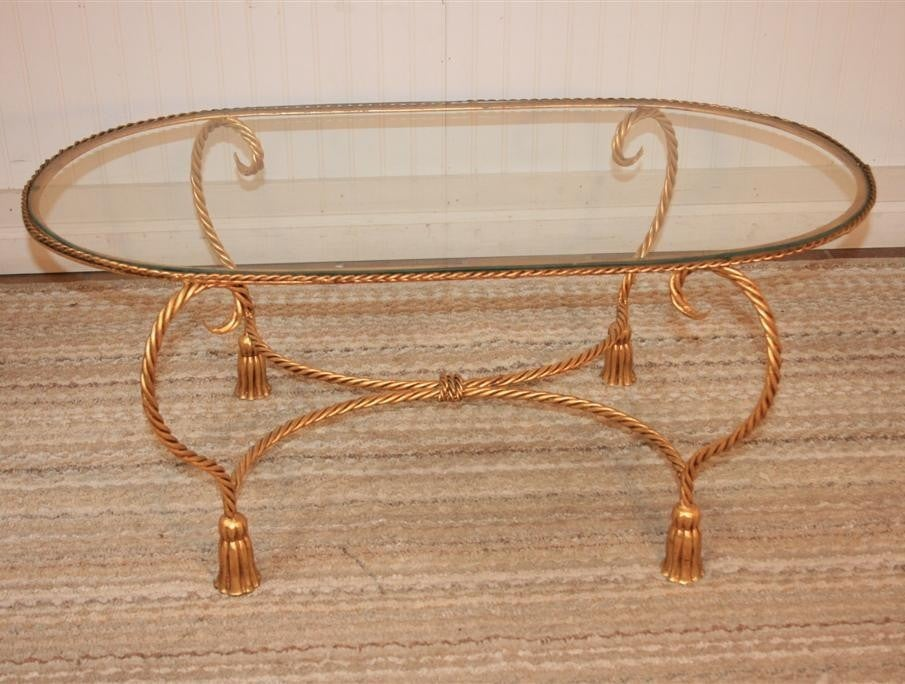 Hollywood regency italian gold gilt metal tassel coffee table at 1stdibs Gold metal coffee table