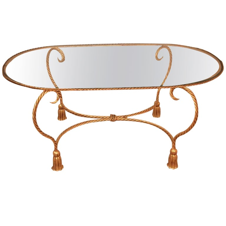 Oval Coffee Table With Metal Legs: Hollywood Regency Italian Gold Gilt Metal Tassel Coffee