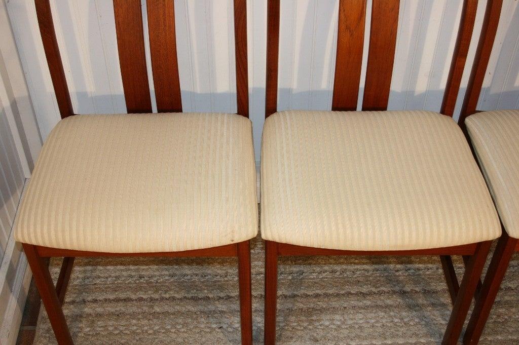 set of 6 teak danish modern slat back dining room chairs at 1stdibs