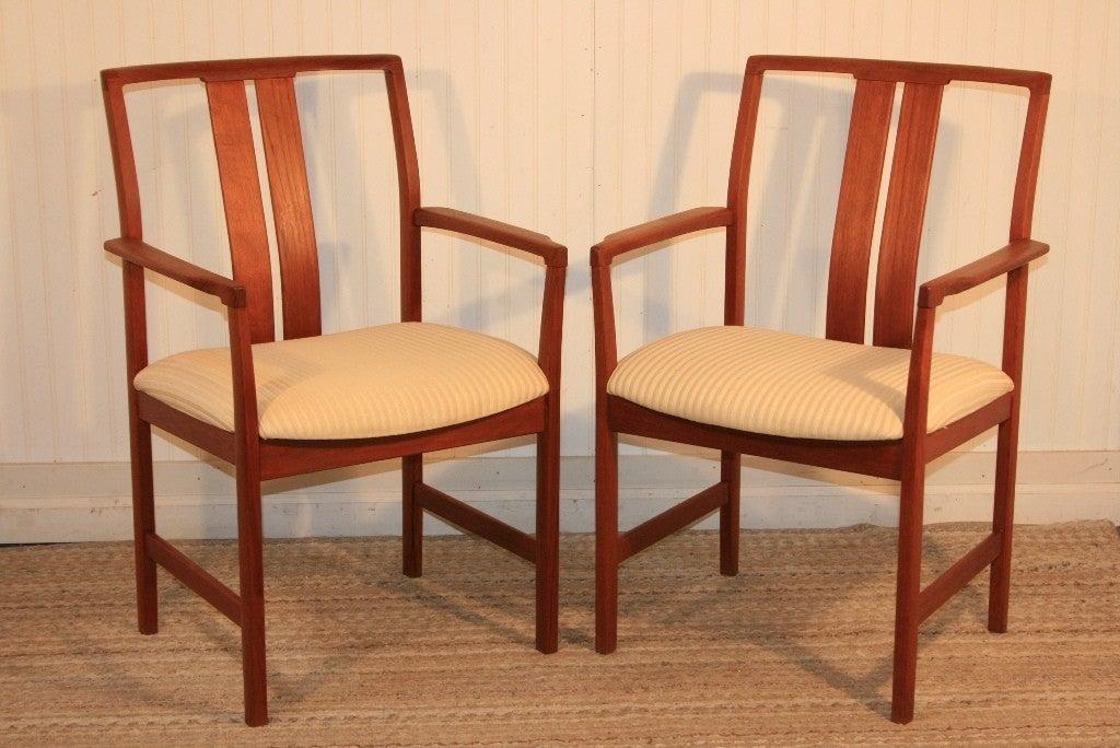 set of 6 teak danish modern slat back dining room chairs