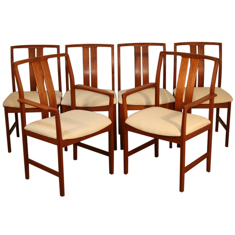 set of 6 teak danish modern slat back dining room chairs