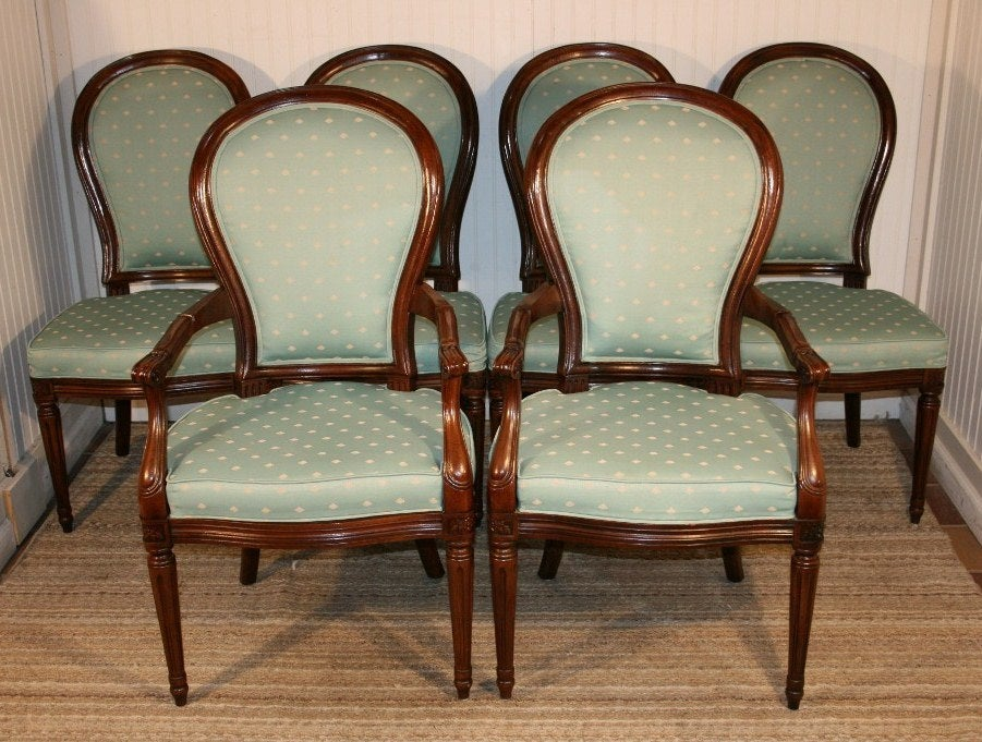 6 henredon french regency style mahogany dining chairs at