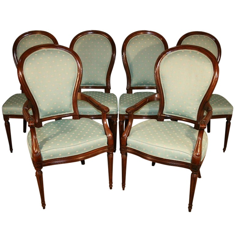 6 Henredon French/Regency Style Mahogany Dining Chairs 1