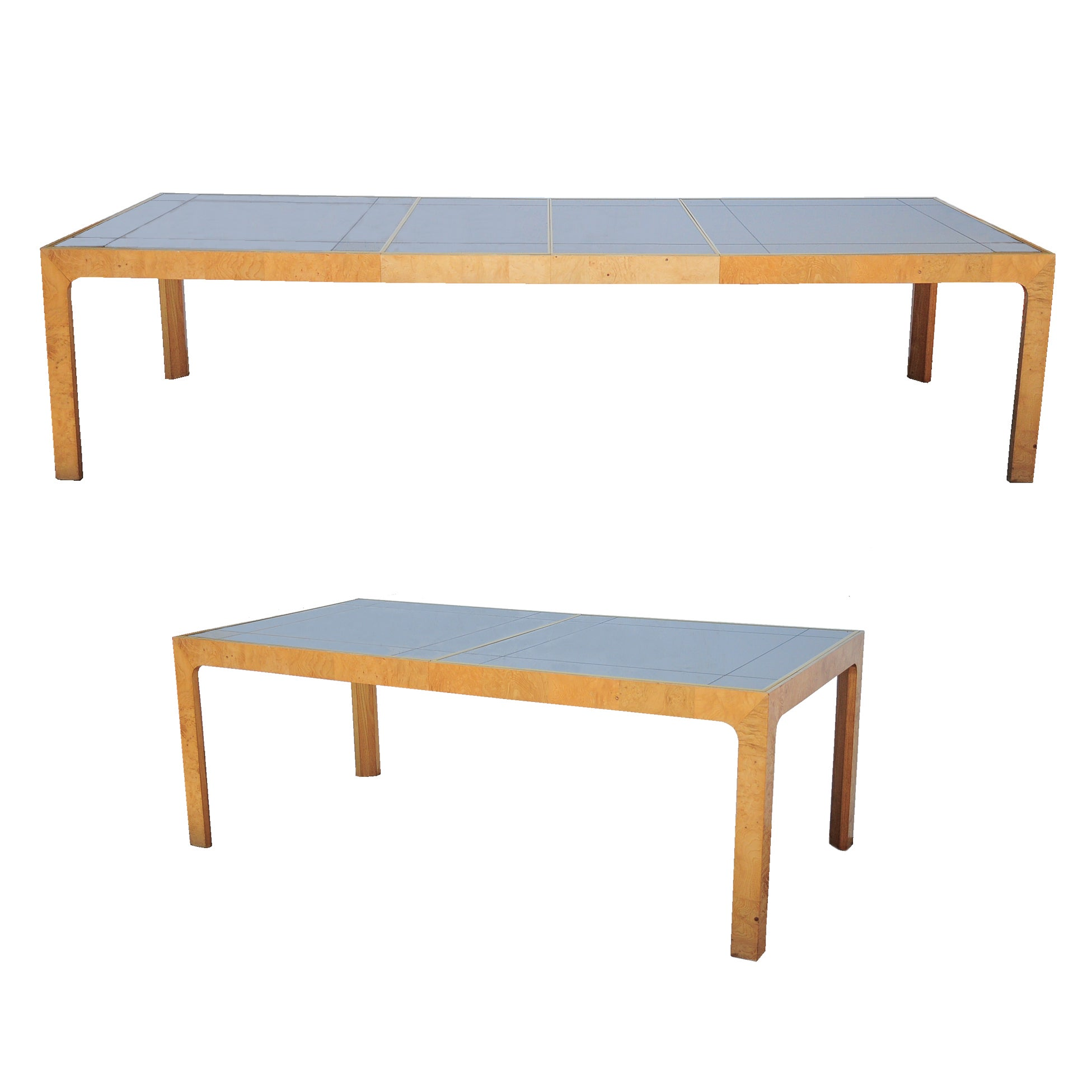 Milo Baughman Style Henredon Scene Two Burl Wood Mirror Dining Table w/ 2 Leaves