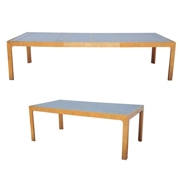 Milo Baughman Style Henredon Scene Two Burl Wood Mirror Dining Table W 2 Leaves