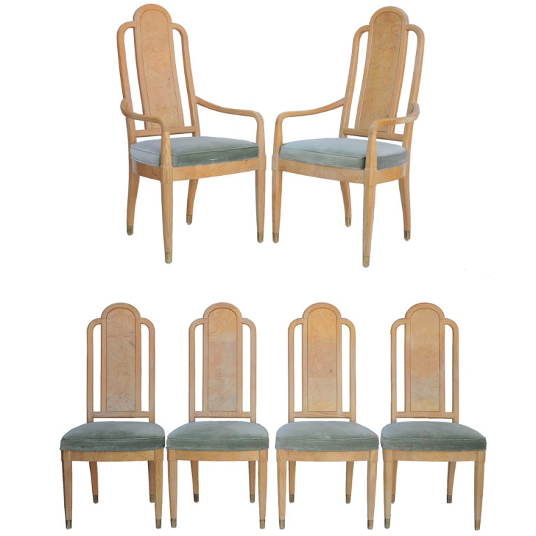 set of 6 henredon scene two burl wood dining chairs in the