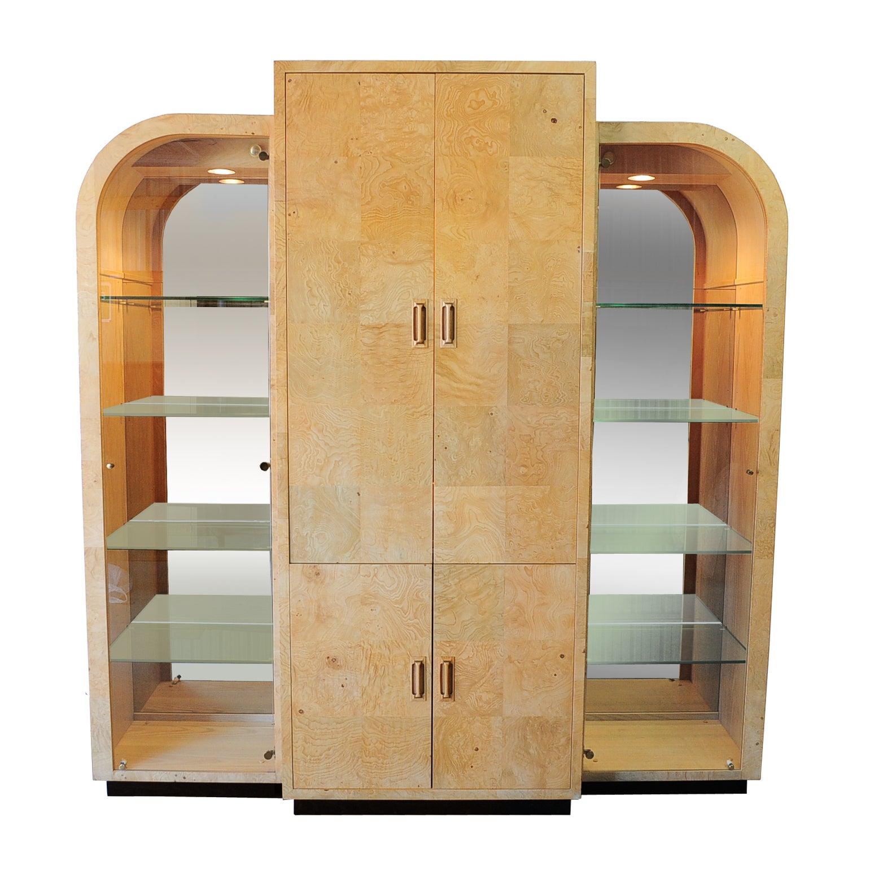 Milo Baughman Style Henredon Scene Two Burl Wood Bar Display Cabinet Wall Unit