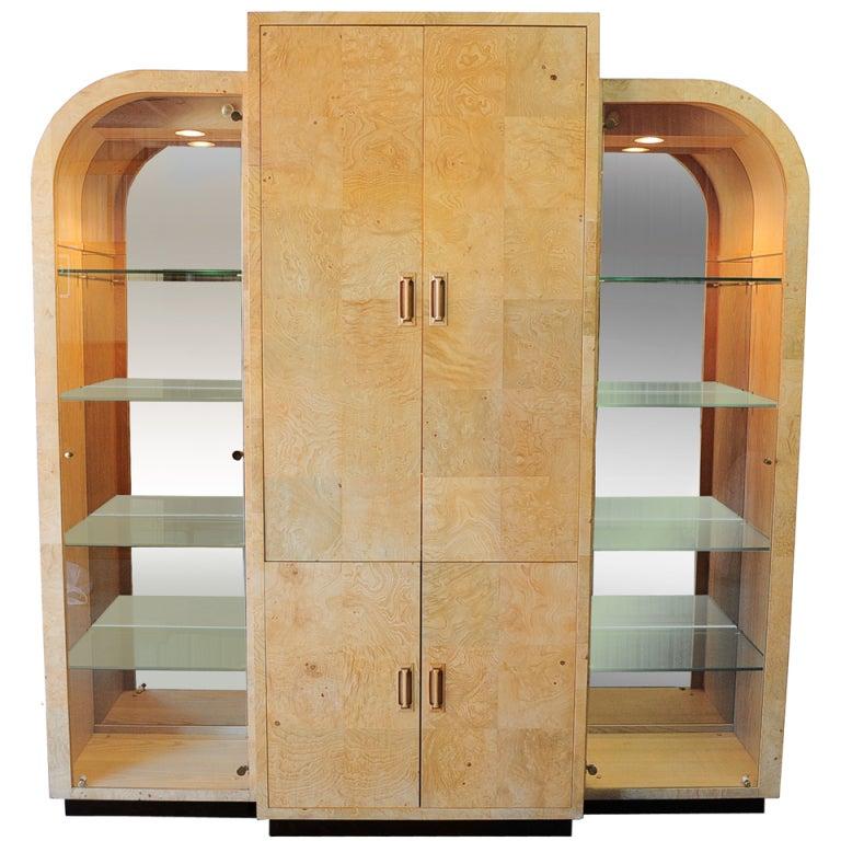 Henredon Scene Two Burl Wood China Cabinet In The Art Deco
