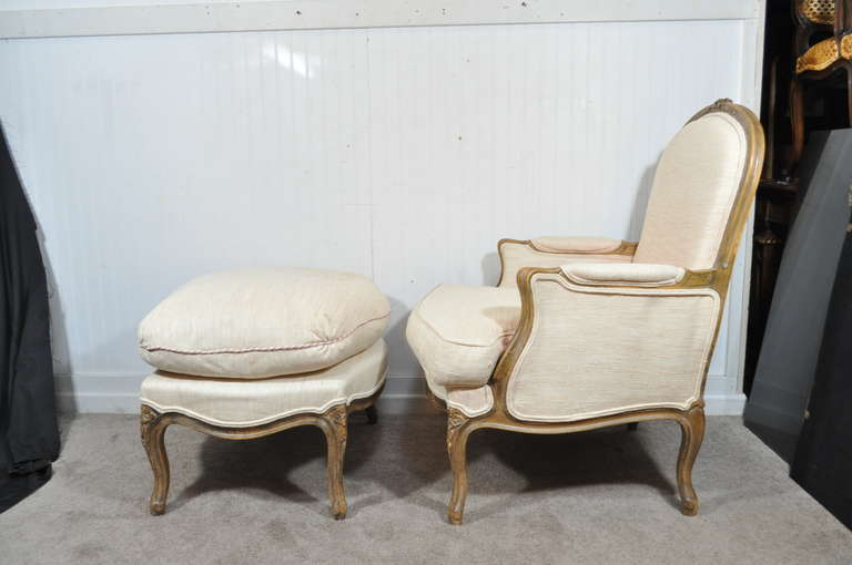 Vintage French Louis Xv Style Hand Carved Walnut Bergere