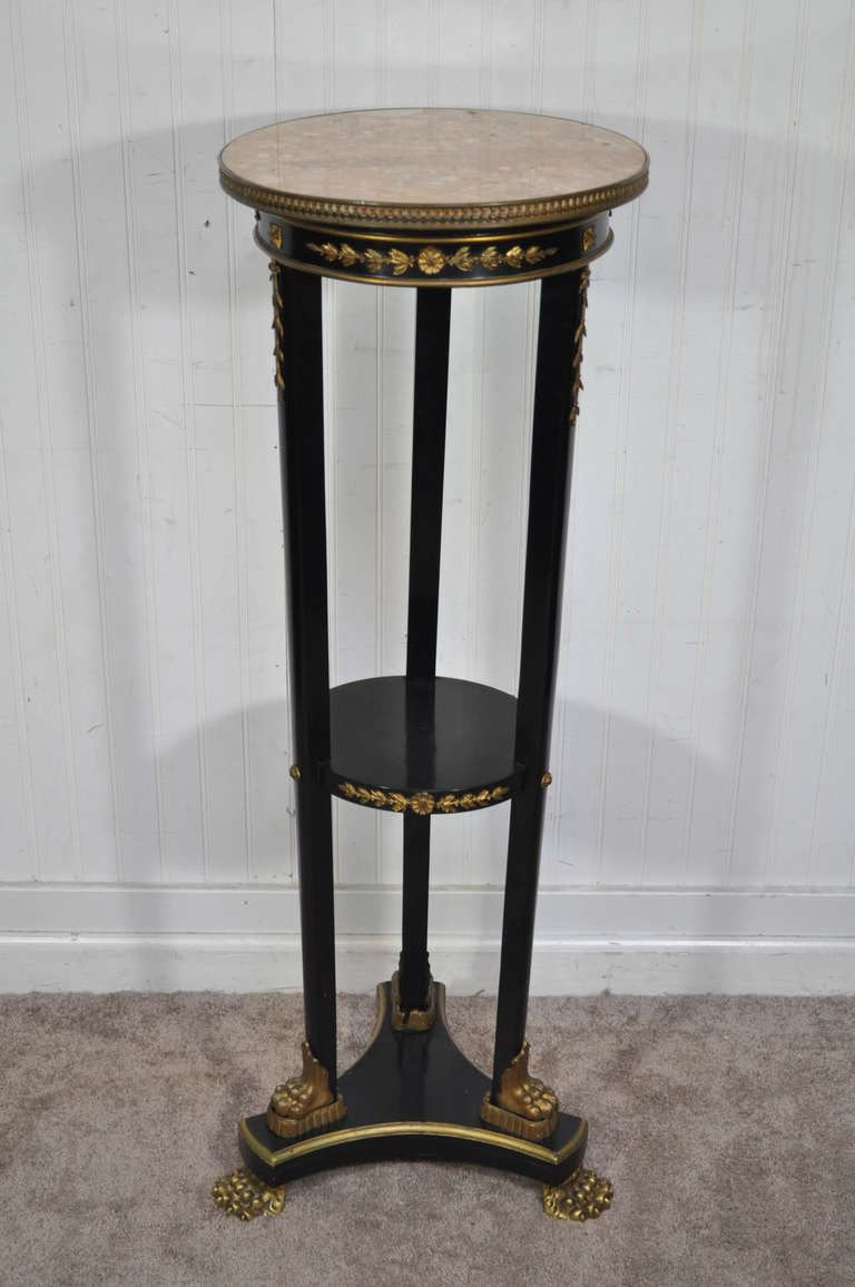19th century french empire marble top bronze mounted paw for Th 37px60b table top stand