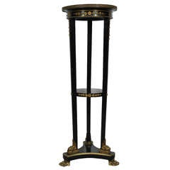 19th C French Empire Marble Top Bronze Mounted Claw Foot Pedestal Plant Stand