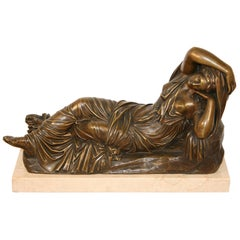 19th C. Georges Bareau French Bronze Marble Sleeping Ariadne Statue Sculpture