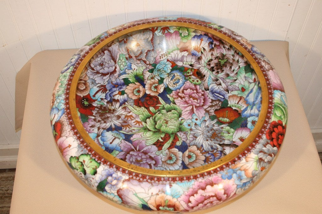 Early to Mid 20th Century Impressive Chinese Cloisonne Enamel Decorated Bowl with a stately 20.5