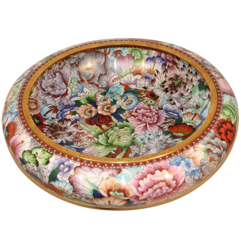 """21"""" Diameter Monumental Mid 20th Century Chinese Cloisonne Bowl For Sale"""