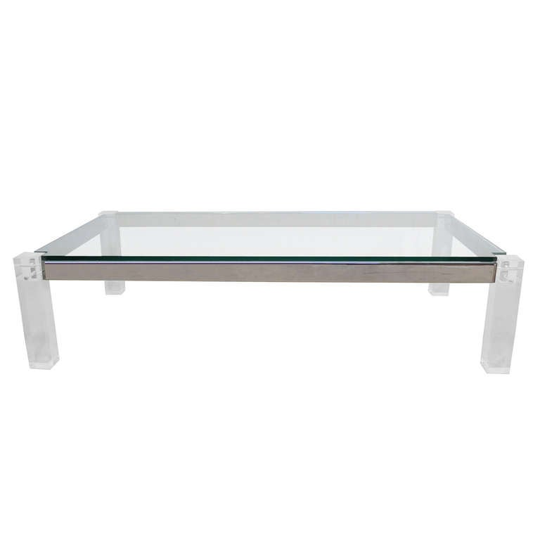Vintage Lucite Chrome And Glass Coffee Table Attr Charles Hollis