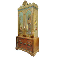 Early 20th C Hand Painted Romeo & Juliet Renaissance Romance Cabinet Dresser