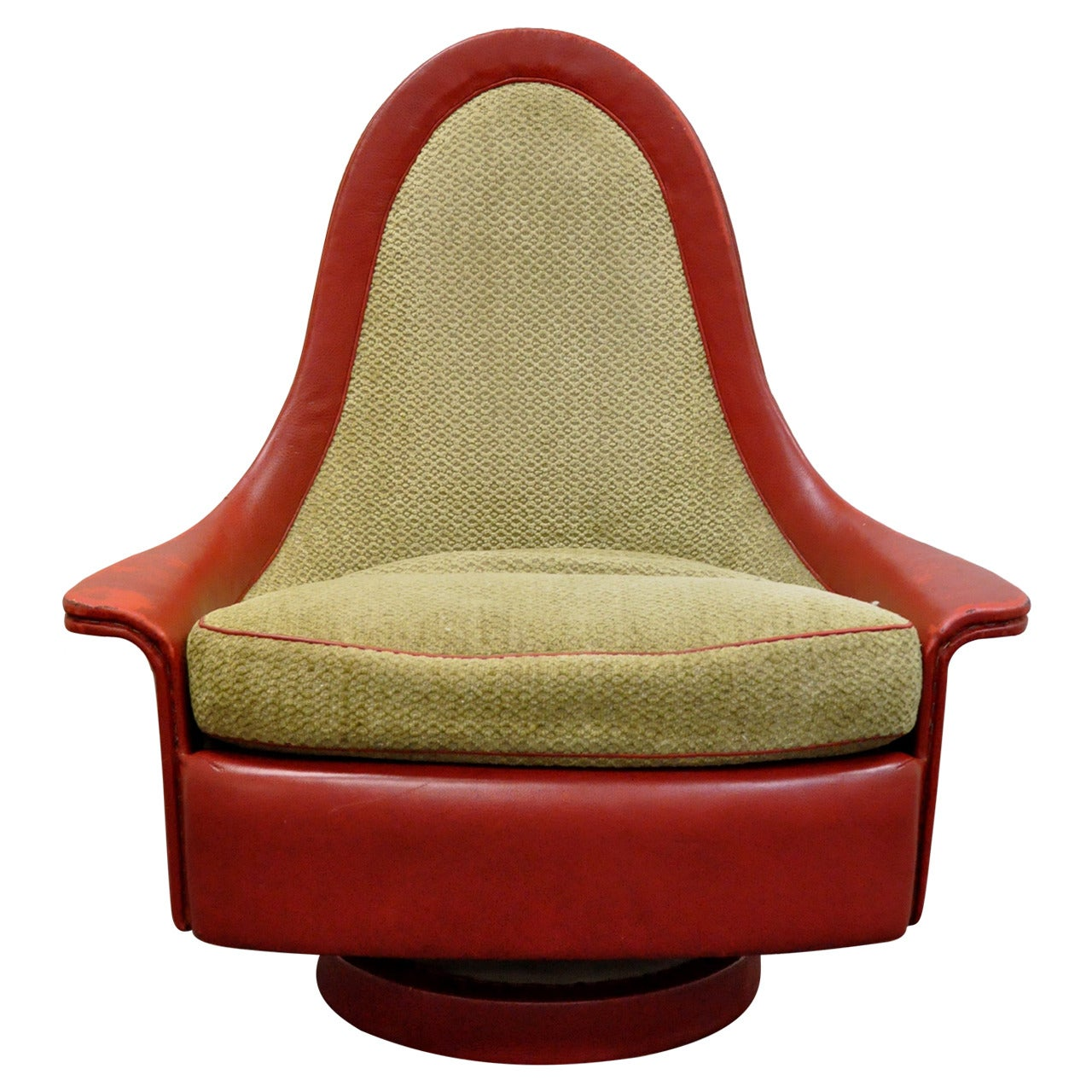 Petite Sculptural Milo Baughman Tear Drop Swivel and Tilt Slipper or Club Chair