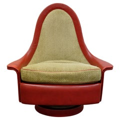 Petite Sculptural Milo Baughman Tear Drop Swivel and Tilt Slipper or Club Chair